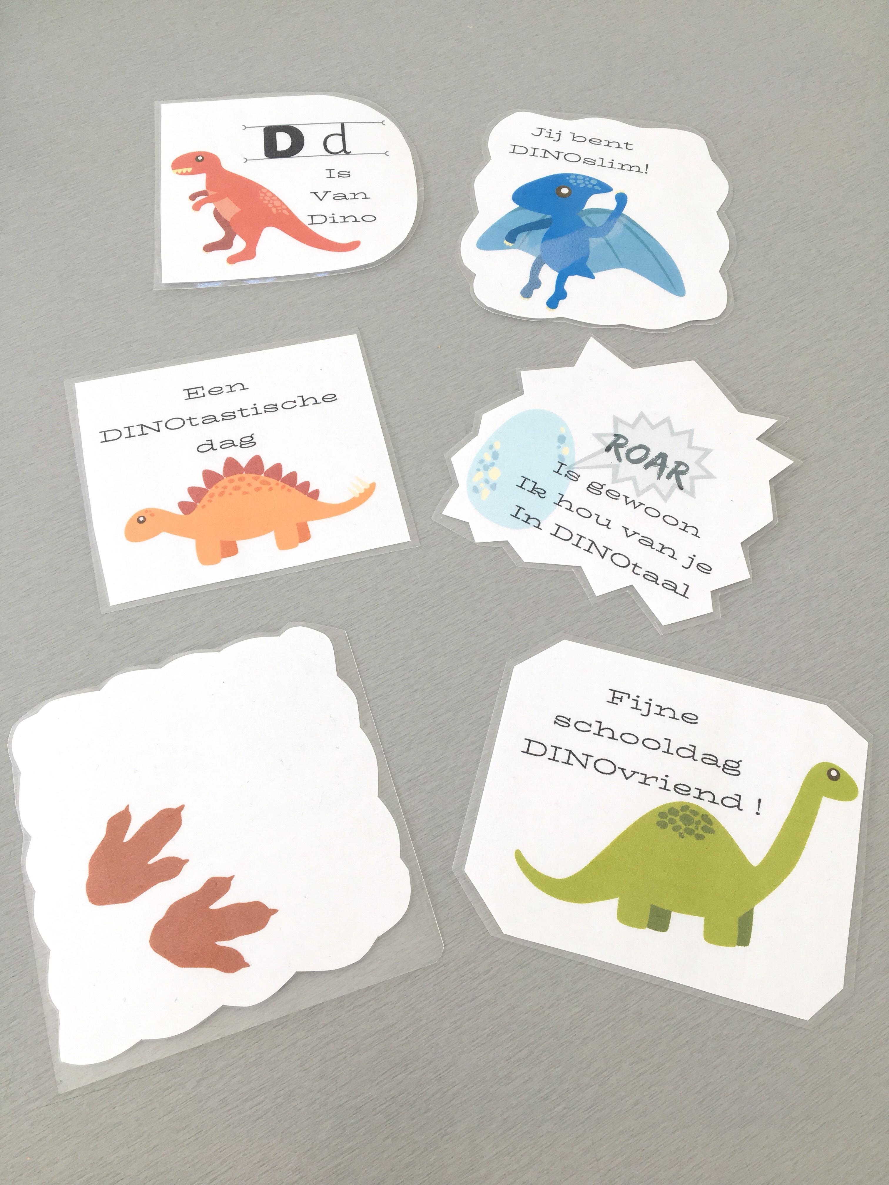Dino boodschap kaartjes brooddoos - Lievelyne