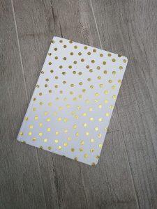 notitieboek wit met gouden stippen Action shoplog